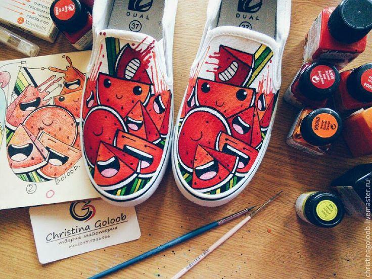 """Купить Слипоны с росписью """"Арбузное пати"""" - ярко-красный, кеды с росписью, рисунок на обуви, арбузы"""