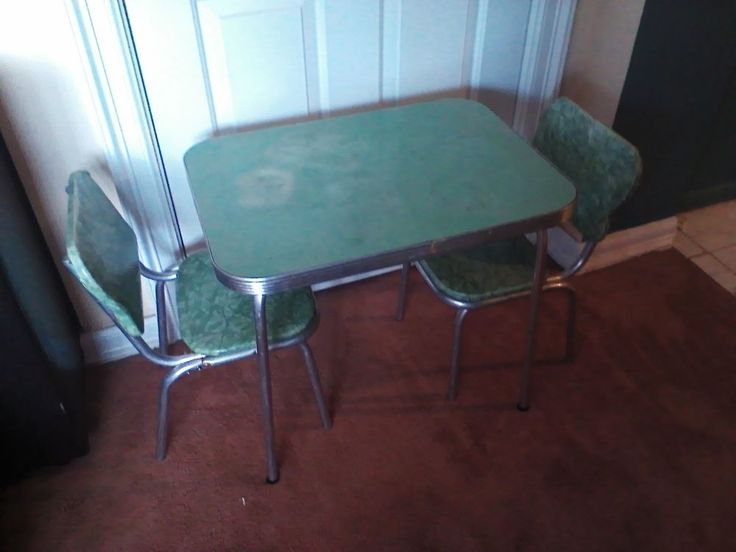 1950s Child Size Retro Vintage Green Formica Kitchen Table And Chairs