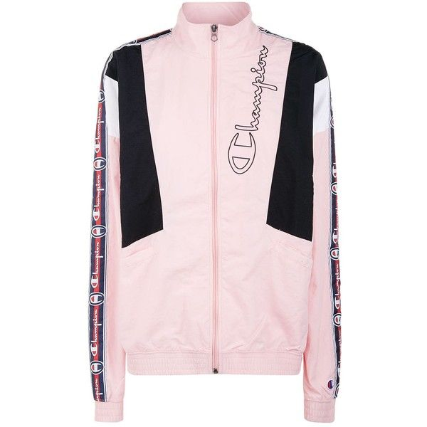 Champion Logo Tape Jacket ($110) ❤ liked on Polyvore featuring activewear, activewear jackets, pink activewear, logo sportswear, champion sportswear, champion activewear and pink sportswear