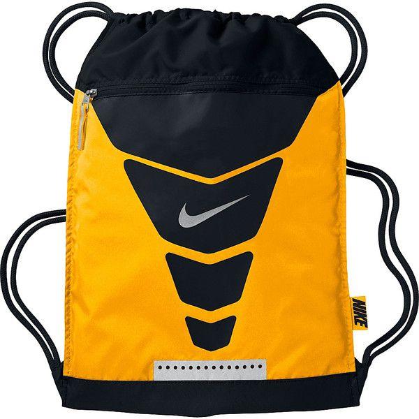 Nike Vapor Gymsack (€14) ❤ liked on Polyvore featuring bags, handbags, shoulder bags, orange, nike handbags, drawstring purse, drawstring shoulder bag, mesh handbag and drawstring handbag