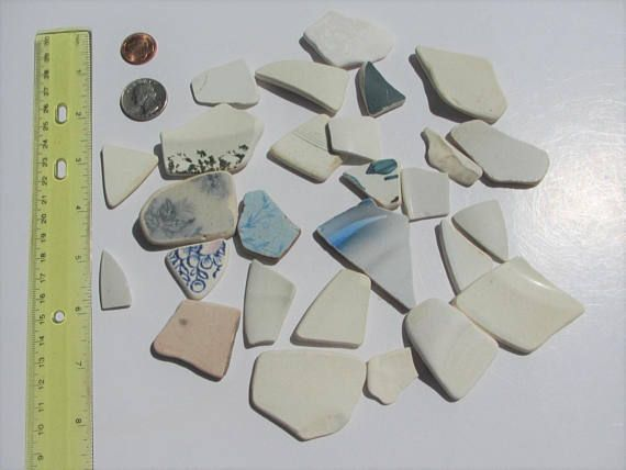 Beach Pottery supply for Jewelry making Sea Pottery 26 pcs