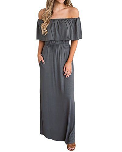 f5f19056228 Summer Dress  19.98 Chuanqi Womens Summer Causal Off The Shoulder Dresses  Elegant Party Maxi Dress with