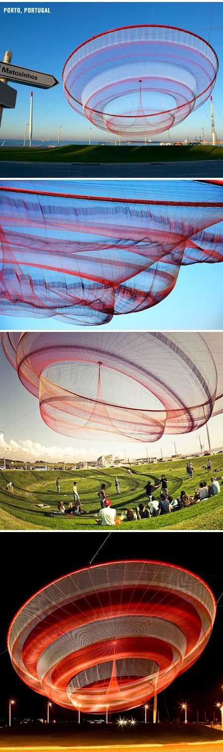 American artist Janet Echelman makes huge, sculptural nets that are colorful and billowing during the day, and light up the skyline like beautifully bizarre jellyfish at