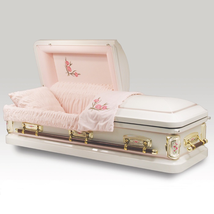 The Antique Rose Casket is made from metal with a gold finish. The inside is a pink crepe with beautiful roses decorated. The casket is a half-couch design. The interior also includes a matching pillow and throw. The exterior, meanwhile, is decorated with traditional corners, gold tone accessories and full handle bars.