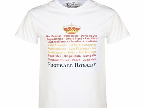 Elms Marketing Spain Football Royalty T-Shirt White KWCT19 Spain Football Royalty T-Shirt White Kitbag is just giddy about the world cup and has produced its very own slogan T-shirt range to celebrate! This Spain T-Shirt is based on Spains football royalty wh http://www.comparestoreprices.co.uk/t-shirts/elms-marketing-spain-football-royalty-t-shirt-white-kwct19.asp