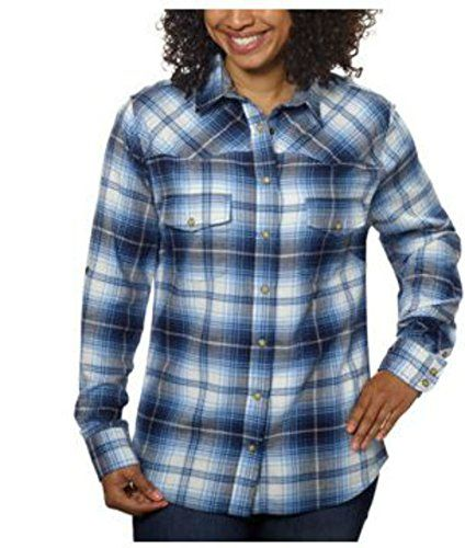 Jachs Girlfriend Ladies' Flannel Shirt 2 Pockets, Snap Closure (X-Large, Blue)