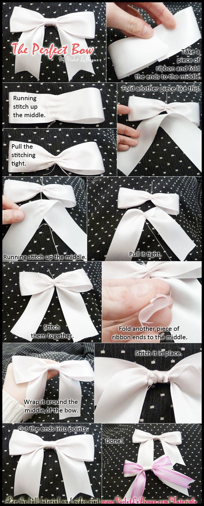 Simple tutorial on getting the perfect ribbon bow every time.   Original full tutorial over here: www.violetlebeaux...