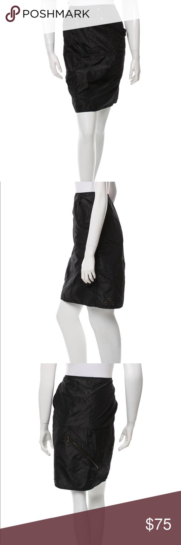 """SALE - YVES SAINT LAURENT KNEE-LENGTH SKIRT Black Yves Saint Laurent silk skirt with tonal stitching, slit pockets at sides and brass snap button closures at front. Waist: 28"""" Hip: 36"""" Length: 22"""" Condition: Very Good. Light wear at fabric. Fabric: 100% Silk Designer: Yves Saint Laurent   (((photos are of actual piece))) Yves Saint Laurent Skirts"""