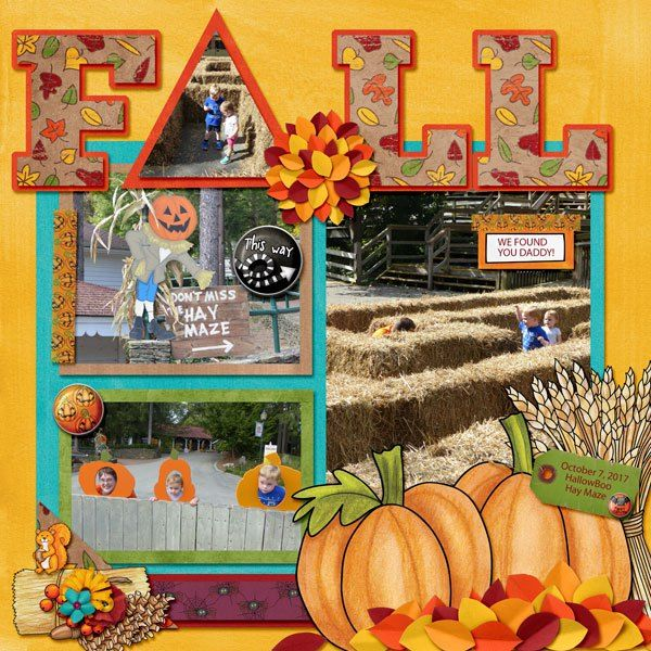 Halloween scrapbook page created with digital scrapbooking kits from Kate Hadfield Designs – fun ideas for Halloween scrapbook pages!  Layout created by Creative Team member Amy