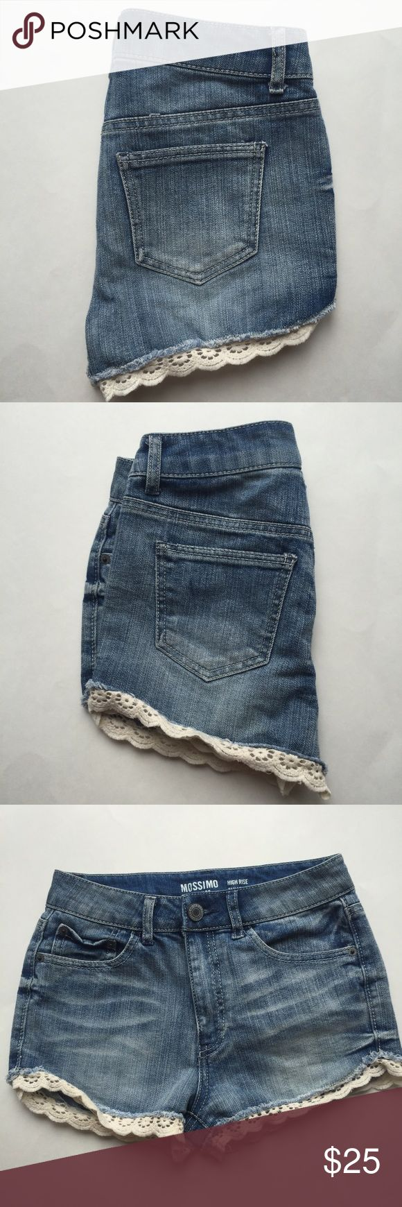 High Rise Denim Shorts w/lace Size 3 Only worn one time, in like new condition. Size juniors 3 with the high rise style and lace peaking out from under the shorts. These shorts are so cute and I would definitely keep if they fit me! Open to reasonable offers, all sales final. Mossimo Supply Co Shorts Jean Shorts