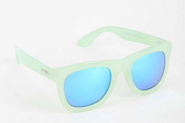 The pearly mint frame and mirrored blue lenses are a great combo.