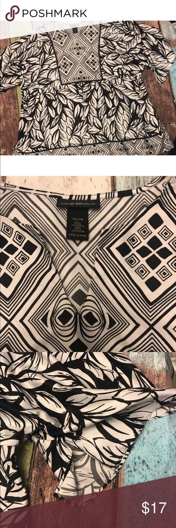 "Lane Bryant Geo Print Black and White Blouse Sz 26 Lane Bryant Womens Top Geometric Print Surrounding Floral Print Pattern Side Zipper Closure Black and White  Sz 26/28 100% Polyester  All Measurements Done With Item Laying Flat:  Chest: 27"" Length: 30.5"" Lane Bryant Tops Tunics"