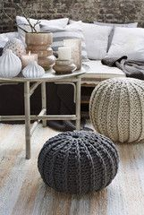 Hand Knitted Pouffe or Pouf - Cream by Broste Copenhagen - Large