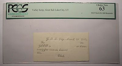 1849 Great Salt Lake City Valley Scrip (March 28) - PCGS 63 Choice New - Rare!