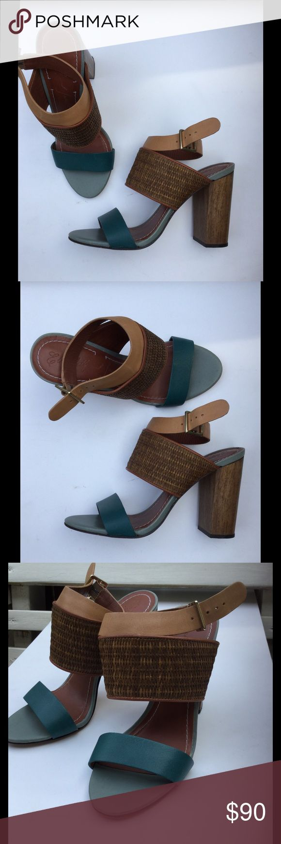 Elizabeth and James E-Clair Heels Teal & Brown Colorblock with chubby wood heel. Very comfortable! Genuine leather, Made in Brazil. Gently used, size 7B Elizabeth and James Shoes Heels