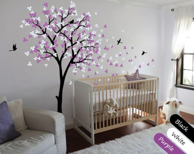 Árbol de pared calcomanía de vivero con hojas y volando Pájaros, murales, Flores-KR002