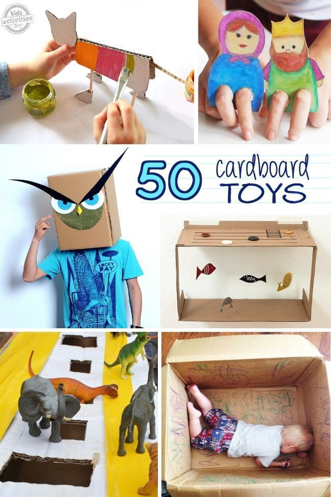 Here's 50 Things to make with a cardboard box! Kids will love these crafts and ideas. I love the cardboard toys. A great way to recycle all that cardboard.