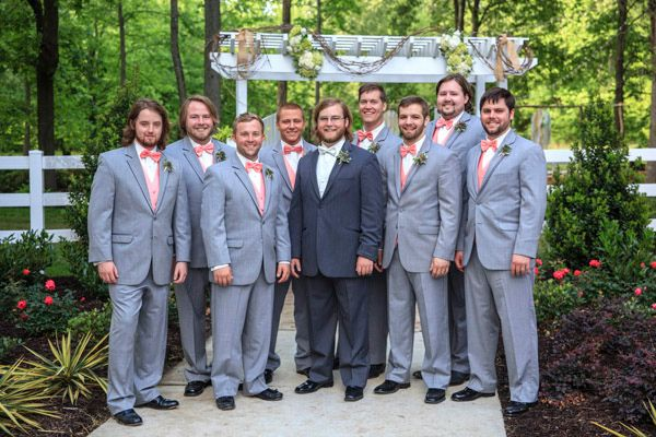 gray and coral groomsmen looks