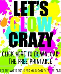 DIY Glow party invitations  - free printable