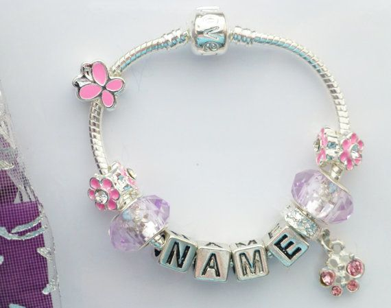 childrens any name bracelet butterfly crystal by JewlsGifts