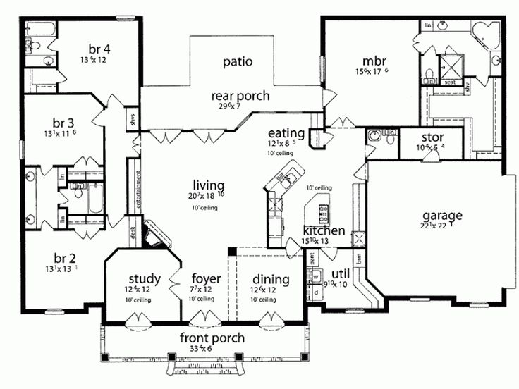 1 Story House Plans Take Off Front Dining Room And Study Make Larger Porch
