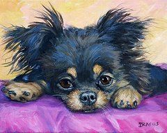 Chihuahua Paintings - Longhaired Chihuahua Puppy Black and Tan by Dottie Dracos