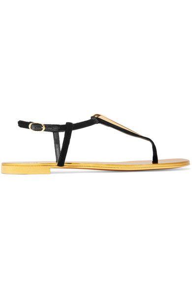 Giuseppe Zanotti - Embellished Velvet Slingback Sandals - Black - IT37.5