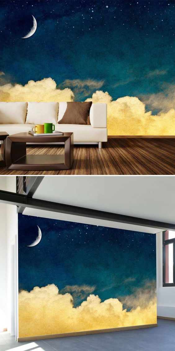 Sky Dreams Mural  And the related pins to this! Omg what a cool backdrop idea for living rooms or bedrooms.: