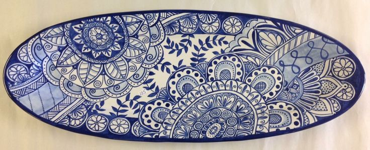 Long skinny blue and white Platter by Tessa at Damariscotta Pottery