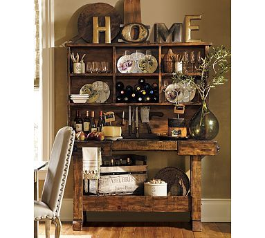 rustic wood bar.: Dining Rooms, Kitchens Decor, Potterybarn, Kitchens Design, Decor Ideas, Barns Kitchens, Markham Consoles, Kitchens Accessories, Pottery Barns