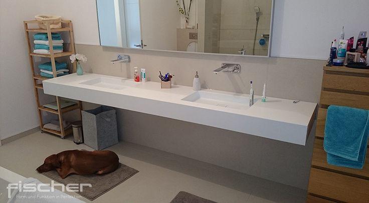 Hochwertiges Corian Waschbecken von professionellem Mineralwerkstoff-Verarbeiter: individuell gefertigt, passgenau und fugenlos für das moderne Bad.