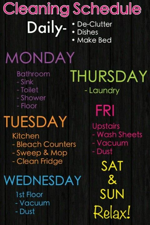 Organizing / Cleaning schedule ~ #cleaning, #organization, #organize I'd probably switch thursday and wednesday.