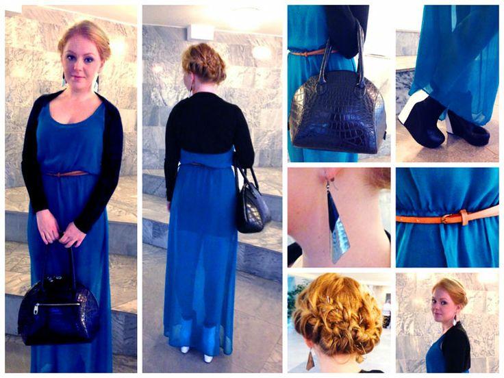 Платье: Zara Балеро: Orsay Сумка: no name Ботильоны: Yes Сережки: Forever 21