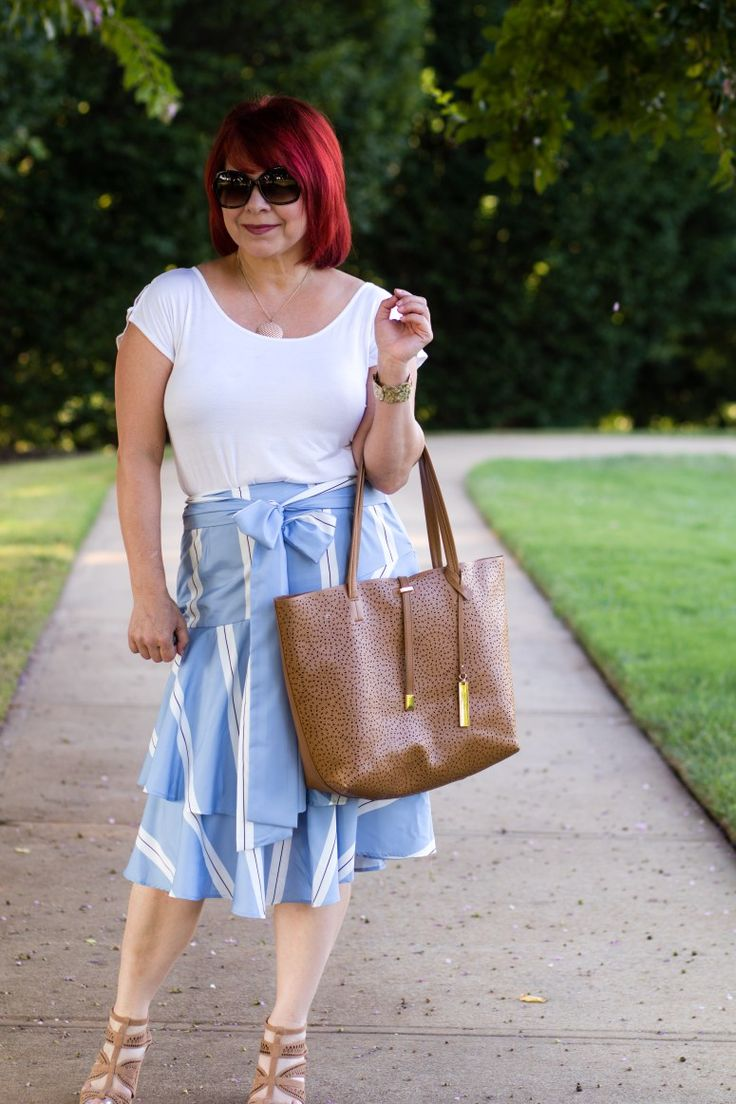 Striped Ruffled Skirt, White tee, Summer skirt look, Shein striped skirt, Fashion for women, summer looks for women, fashion over 40, Budget style for women, red hair, ootd, weekend style, tiered ruffle skirt looks