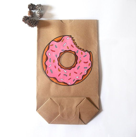Sacchetto regalo ciambella rosa natale disegnato a mano dolci cibo carta marrone idea regalo sacchetti di carta grandi biscotti inverno