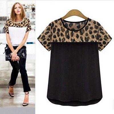 Women-Summer-Casual-Chiffon-Blouse-Leopard-Print-Shirt-Tops-T-Shirt-Plus-Size