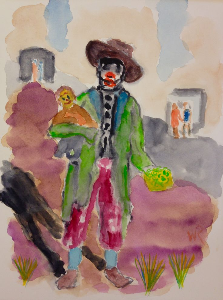 """This is """"Clown: 'Your Style Confuses Me' """" - watercolor sketch on 9""""x12"""" hot pressed Fabriano Artistico paper (c) 2016 Wes Rehberg"""