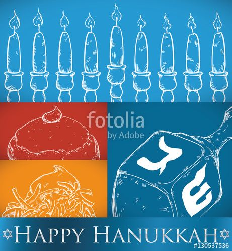 Traditional Elements and Food in Hand Drawn Style for Hanukkah