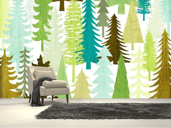 Woodland Trees wall mural room setting