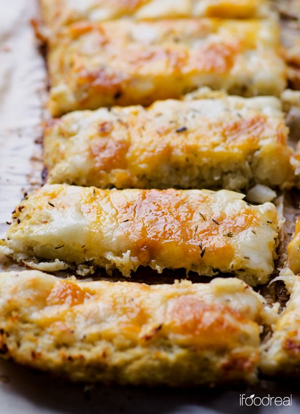 Cauliflower Breadsticks Recipe ~ To-die-for mock breadsticks made with cauliflower that are low in calories, carbs and fat