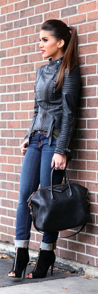 Fall / Winter - street chic style - cropped skinnies + black leather jacket + black handbag + black toeless heeled boothies