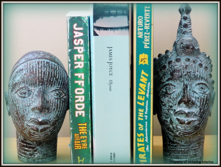 Ancient heads from Cameroon used for bookends