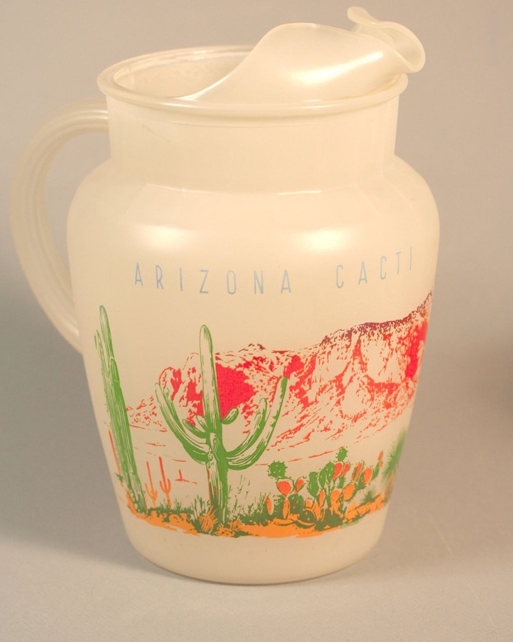 Blakely Oil and Gas Station Complete Set Frosted Glass Arizona Cactus Beverage Pitcher and all 8 glasses