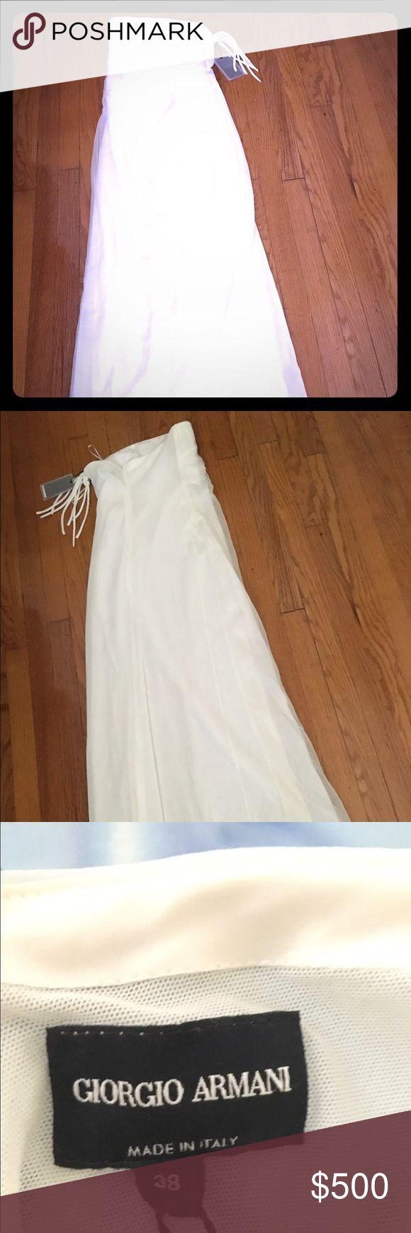 NWT Giorgio Armani dress Brand new strapless satin with chiffon overlay slightly off white genuine with tags Giorgio Armani dress. 👗👗👗 Could be worn as wedding dress. 🍾🍾🍾 VERY NICE!!! 😉 Giorgio Armani Dresses Strapless