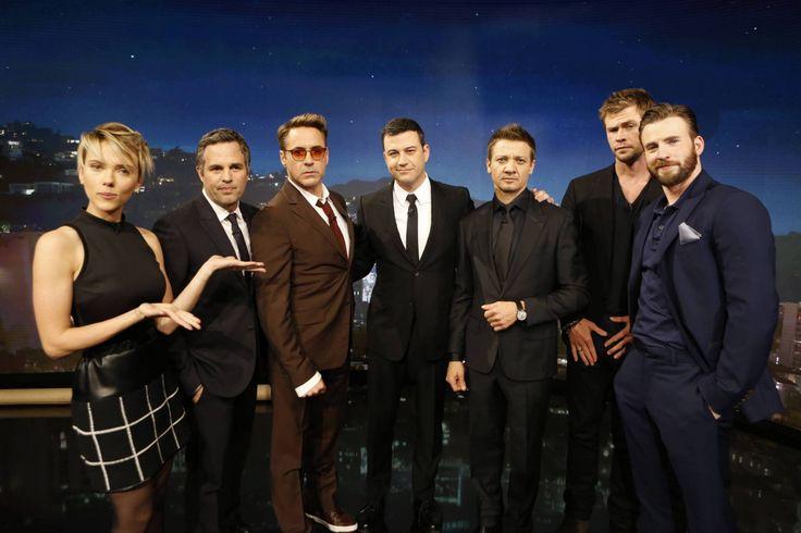 Robert Downey Jr., Chris Hemsworth, Mark Ruffalo, Chris Evans, Scarlett Johansson and Jeremy Renner from Marvel's 'Avengers: Age of Ultron' visit  'Jimmy Kimmel Live' on April 13, 2015.
