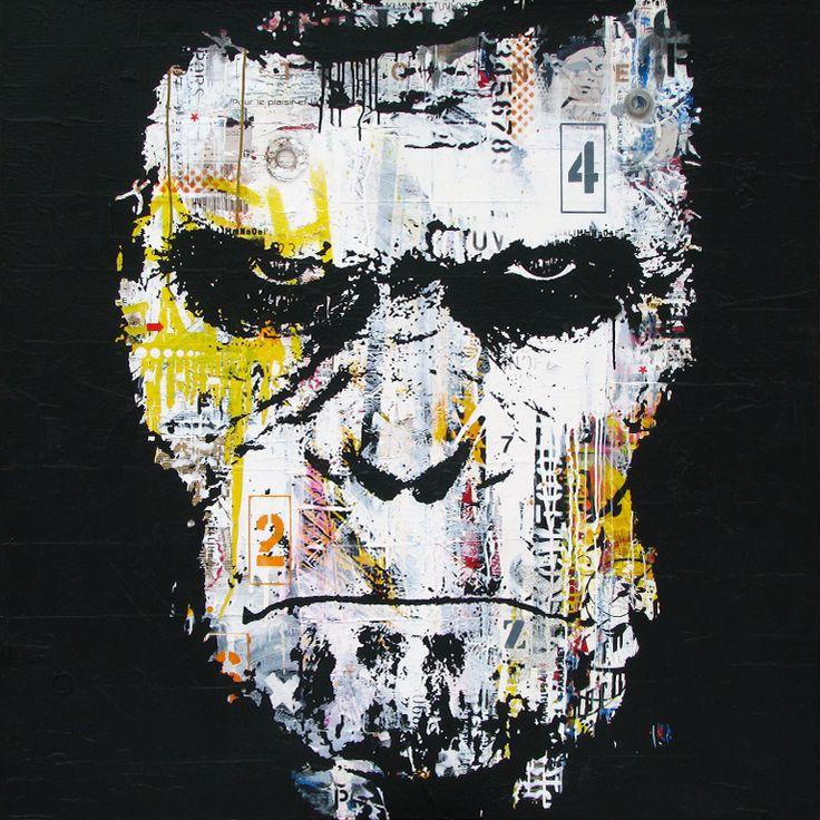 """L'AFFRONTEMENT.Technique mixte sur toile. 122 x 122 cm / Mixed media on canvas. 48'' x 48"""". Décembre 2014, december. Artiste-peintre: Tone. www.t-pakap.net"""