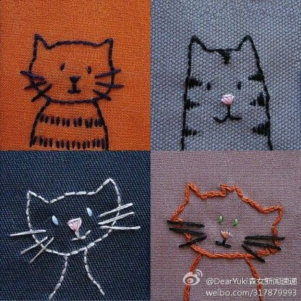 You can basic stitch your self some cats. These are so basic you really don't need instructions The most complicated stitch is in the bottom right cat, but it really is a simple loop type stitch. @Elizabeth Anne