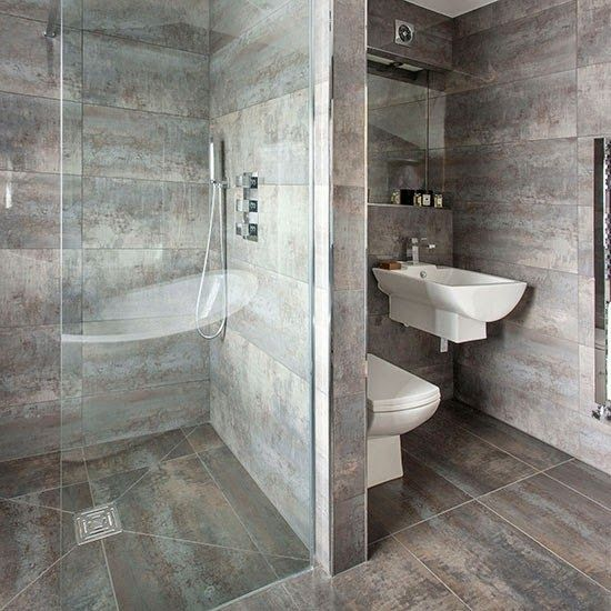 Baños: 500 Fotos de Cuartos de Baños, Imágenes Salas de Baños Diseño y Decoracion: Baño con azulejos de color Gris