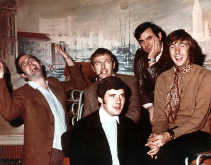 The Flying Circus: John Cleese, Graham Chapman, Terry Jones, Eric Idle, Michael Palin (in front), during their TV series run.