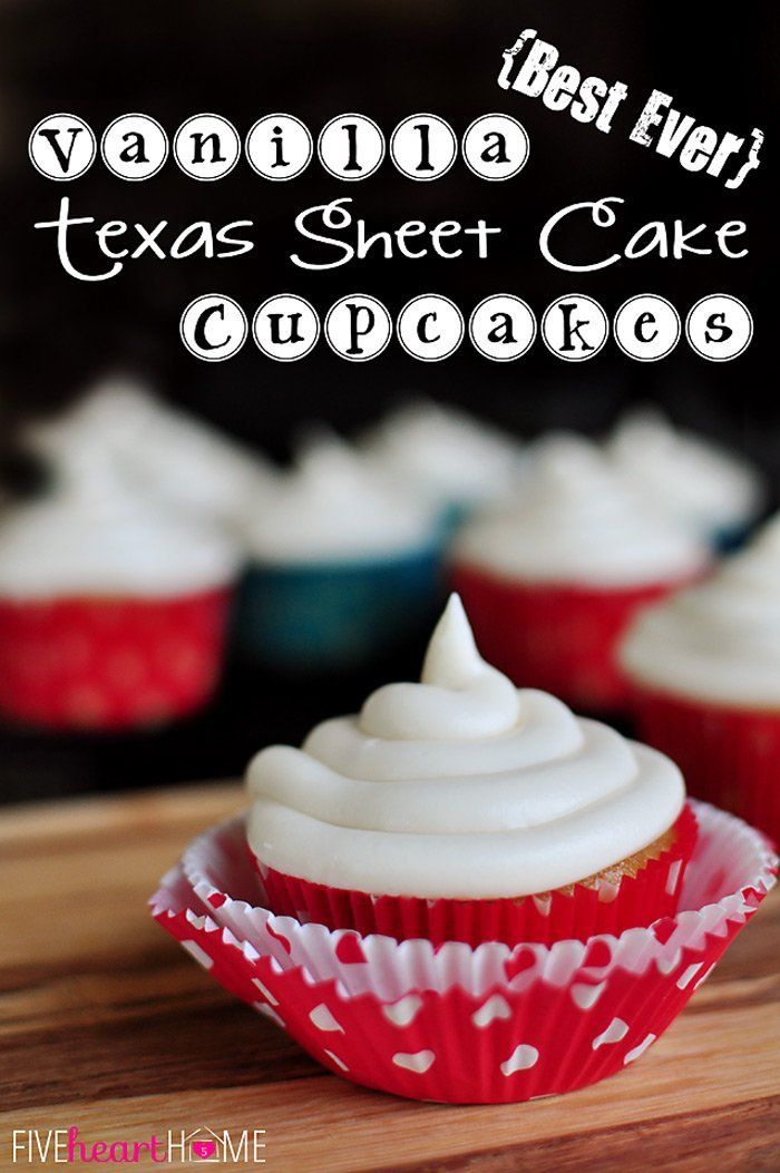 Best Ever Vanilla Texas Sheet Cake Cupcakes with Cream Cheese Frosting @FoodBlogs